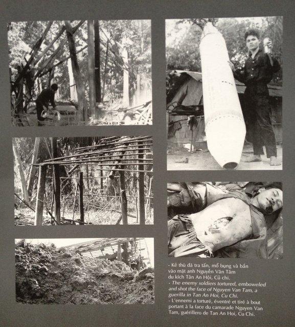 """Hình 8. """"Kẻ thù đã tra tấn, mổ bụng và bắn vào mặt anh Nguyễn Văn Tâm, du kích Tân An Hội, Củ Chi""""."""