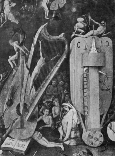 Đàn hạc. Các chi tiết của Garden of Delights (Khu vườn của Những vui thú) của Bosch, trong đó tính biểu tượng kịch tính của chiếc đàn hạc có thể được trực cảm.